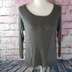 FREELOADER S GRAY RIBBED SCOOP NECK SWEATER
